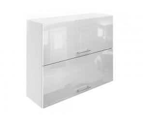 Горен шкаф за кухни с хоризонтални клапващи врати МДФ Елит М25 Бяло гланц 90 см.