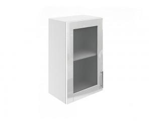 Горен шкаф за кухни с една витринна врата МДФ Елит М17 Бяло гланц 45 см.