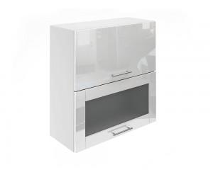 Горен шкаф за кухни с хоризонтални клапващи врати и витрина МДФ Елит М24 Бяло гланц 70 см.