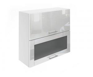 Горен шкаф за кухни с хоризонтални клапващи врати и витрина МДФ Елит М24 Бяло гланц 80 см.