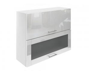 Горен шкаф за кухни с хоризонтални клапващи врати и витрина МДФ Елит М24 Бяло гланц 90 см.