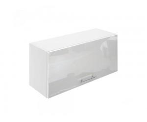 Горен шкаф за кухни с клапваща врата МДФ Елит М26 Бяло гланц 80 см.