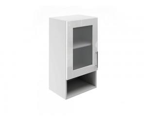 Горен шкаф за кухни с една витрина и ниша МДФ Елит М19 Бяло гланц 40 см.