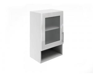 Горен шкаф за кухни с една витрина и ниша МДФ Елит М19 Бяло гланц 45 см.