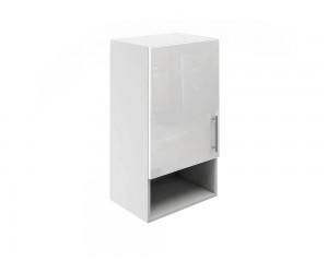 Горен шкаф за кухни с една врата и ниша МДФ Елит М18 Бяло гланц 40 см.