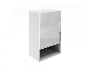 Горен шкаф за кухни с една врата и ниша МДФ Елит М18 Бяло гланц 45 см.