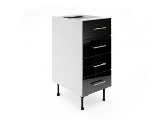 Долен шкаф за кухни МДФ Елит М5 Черно гланц 40 см.