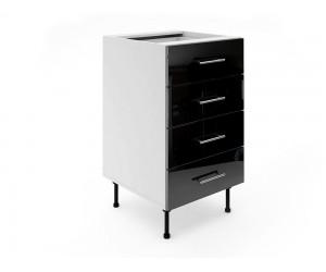 Долен шкаф за кухни МДФ Елит М5 Черно гланц 50 см.