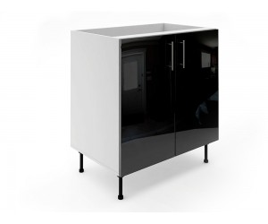 Долен шкаф за кухни МДФ Елит М6 Черно гланц 80 см.