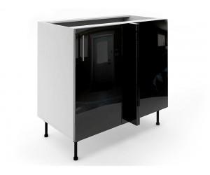 Долен ъглов шкаф за кухни МДФ Елит М7 Черно гланц 100 см.