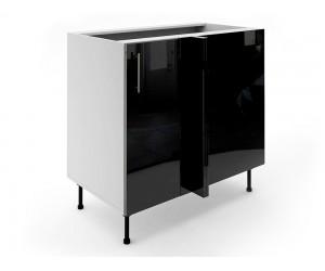 Долен ъглов шкаф за кухни МДФ Елит М7 Черно гланц 90 см.
