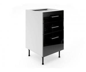 Долен шкаф за кухни МДФ Елит М4 Черно гланц 50 см.