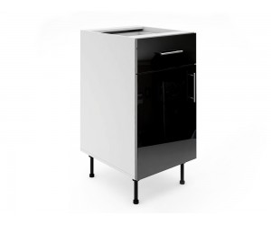 Долен шкаф за кухни МДФ Елит М3 Черно гланц 45 см.
