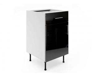 Долен шкаф за кухни МДФ Елит М3 Черно гланц 50 см.