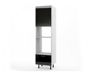 Колонен кухненски шкаф за вграждане на фурна и микровълнова фурна МДФ Елит М14 Черно гланц 60 см.