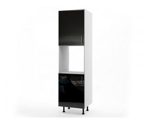 Колонен кухненски шкаф за вграждане на фурна МДФ Елит М12 Черно гланц 60 см.
