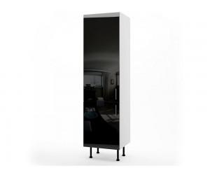 Колонен кухненски шкаф за вграждане на хладилник МДФ Елит М13 Черно гланц 60 см.