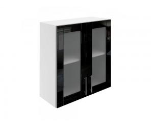 Горен шкаф за кухни с две витринни врати МДФ Елит М21 Черно гланц 70 см.