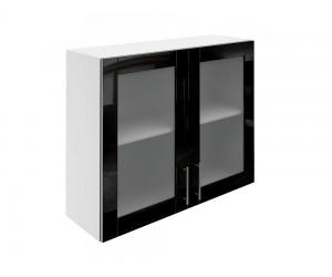 Горен шкаф за кухни с две витринни врати МДФ Елит М21 Черно гланц 90 см.
