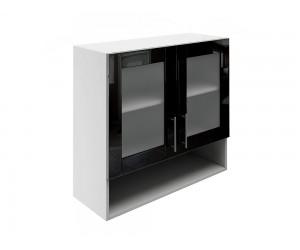 Горен шкаф за кухни с две витрини и ниша МДФ Елит М23 Черно гланц 80 см.