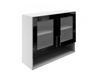 Горен шкаф за кухни с две витрини и ниша МДФ Елит М23 Черно гланц 90 см.