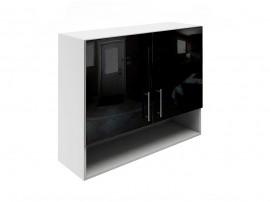 Горен шкаф за кухни с две врати и ниша МДФ Елит М22 Черно гланц 90 см.