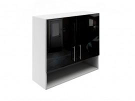 Горен шкаф за кухни с две врати и ниша МДФ Елит М22 Черно гланц 80 см.