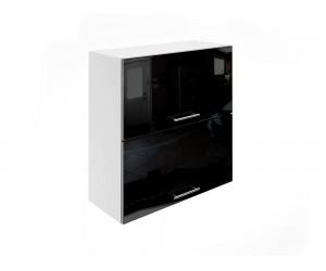 Горен шкаф за кухни с хоризонтални клапващи врати МДФ Елит М25 Черно гланц 70 см.