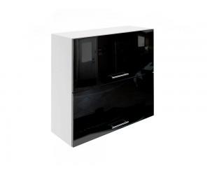 Горен шкаф за кухни с хоризонтални клапващи врати МДФ Елит М25 Черно гланц 80 см.