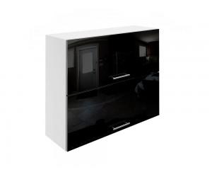 Горен шкаф за кухни с хоризонтални клапващи врати МДФ Елит М25 Черно гланц 90 см.