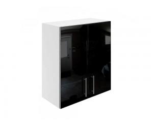 Горен кухненски шкаф за вграден аспиратор МДФ Елит М28 Черно гланц 60 см.