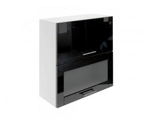 Горен шкаф за кухни с хоризонтални клапващи врати и витрина МДФ Елит М24 Черно гланц 70 см.