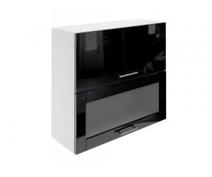 Горен шкаф за кухни с хоризонтални клапващи врати и витрина МДФ Елит М24 Черно гланц 80 см.