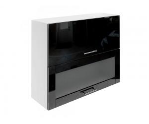 Горен шкаф за кухни с хоризонтални клапващи врати и витрина МДФ Елит М24 Черно гланц 90 см.