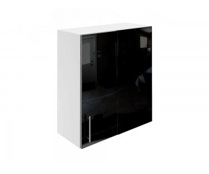 Горен ъглов шкаф за кухни МДФ Елит М27 Черно гланц 65 см.