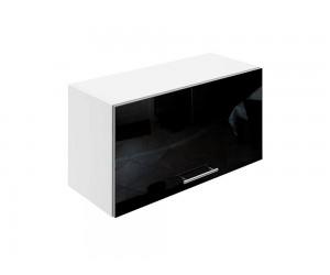 Горен шкаф за кухни с клапваща врата МДФ Елит М26 Черно гланц 70 см.