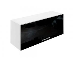 Горен шкаф за кухни с клапваща врата МДФ Елит М26 Черно гланц 90 см.