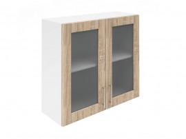Горен шкаф за кухни с две витринни врати Хит М21  Дъб сонома 80 см.