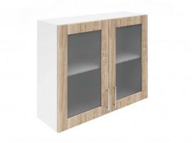 Горен шкаф за кухни с две витринни врати Хит М21  Дъб сонома 90 см.