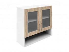 Горен шкаф за кухни с две витрини и ниша Хит М23 Дъб сонома 80 см.