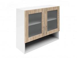 Горен шкаф за кухни с две витрини и ниша Хит М23 Дъб сонома 90 см.