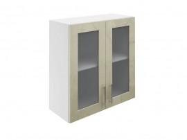 Горен шкаф за кухни с две витринни врати МДФ Елит М21 Фрапе гланц 70 см.