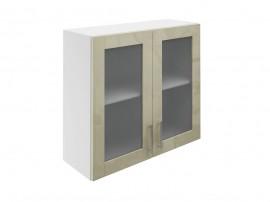 Горен шкаф за кухни с две витринни врати МДФ Елит М21 Фрапе гланц 80 см.