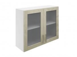 Горен шкаф за кухни с две витринни врати МДФ Елит М21 Фрапе гланц 90 см.