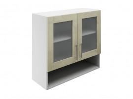 Горен шкаф за кухни с две витрини и ниша МДФ Елит М23 Фрапе гланц 80 см.