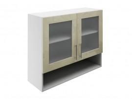 Горен шкаф за кухни с две витрини и ниша МДФ Елит М23 Фрапе гланц 90 см.