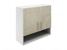 Горен шкаф за кухни с две врати и ниша МДФ Елит М22 Фрапе гланц 80 см.