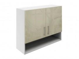 Горен шкаф за кухни с две врати и ниша МДФ Елит М22 Фрапе гланц 90 см.