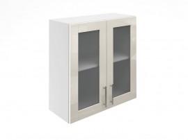 Горен шкаф за кухни с две витринни врати МДФ Елит М21 Крем гланц 70 см.