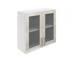 Горен шкаф за кухни с две витринни врати МДФ Елит М21 Крем гланц 80 см.
